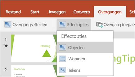 Toont het menu Overgangen > Effectopties in PowerPoint voor Android.