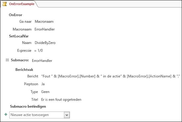 Macro-ontwerpvlak in Access met een macroactie BijFout.