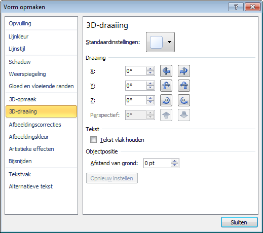 3D-draaiing in het dialoogvenster Vorm opmaken
