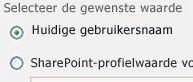 Klik op de optie voor huidige gebruikersnaam in het taakvenster van het webonderdeel Filter voor huidige gebruiker.