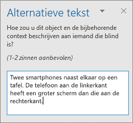 Alternatieve tekst deelvenster in Outlook voor Windows.