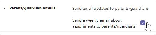 Schakel het selectievakje in om bovenliggende en voogde e-mailberichten in te schakelen.