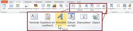 The Insert tab in PowerPoint 2010, with the WordArt button highlighted.
