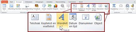 Het tabblad invoegen in PowerPoint 2010, met de knop WordArt is gemarkeerd.