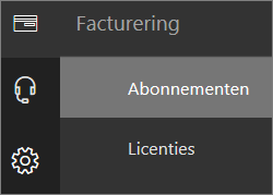 Schermafbeelding van het menu Facturering in het nieuwe Office 365-beheercentrum met Abonnementen geselecteerd.