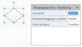 Een beslissingsshape met drie shapevelden en bijbehorende waarden