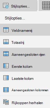 Mail voor Windows 10 opties voor tabelstijlen