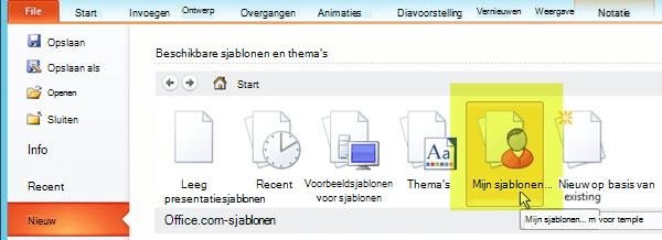 Selecteer op het tabblad Bestand op het lint de optie Nieuw en selecteer de knop Mijn sjablonen.