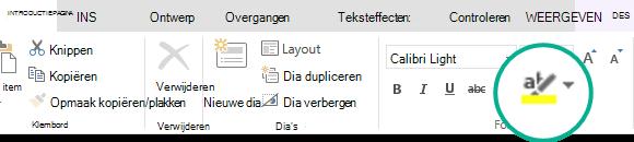 De knop tekstmarkering die zich op het tabblad Start van het lint in PowerPoint Online