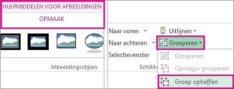 De knop Groep opheffen op het tabblad Hulpmiddelen voor afbeeldingen