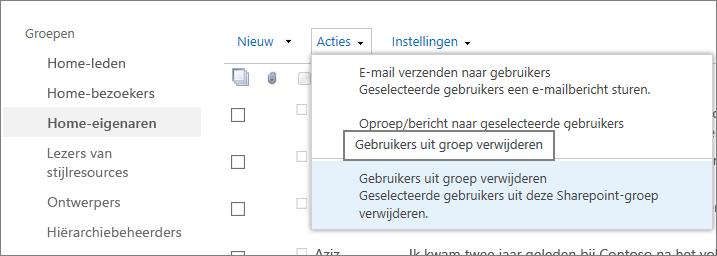 Weergave van de werkbalk Snel starten met groepen en het geopende menu Acties waarin Gebruikers uit groep verwijderen is geselecteerd.