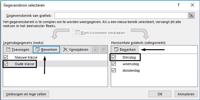 U kunt de naam van de legenda bewerken in het dialoogvenster Gegevensbron selecteren.