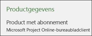 Productgegevens voor Project Online-bureaubladclient