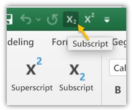 Schermafbeelding met de knoppen Subscript en Superscript in de werkbalk Snelle toegang en het lint.