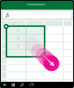 Illustratie waarin het selecteren van meerdere cellen wordt getoond