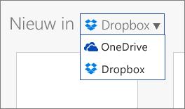 Afbeelding waarin Dropbox wordt toegevoegd aan de locaties waarop u nieuwe bestanden kunt maken in Office Online