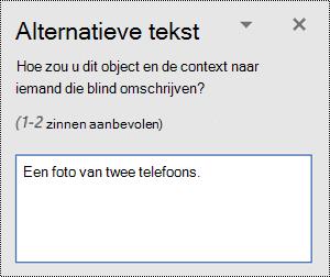 Een voorbeeld van slechte alternatieve tekst in Word voor Windows.
