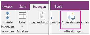 Schermafbeelding van de knop Afbeeldingen invoegen in OneNote 2016.