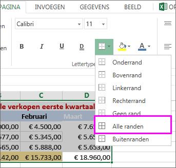 Een rand toevoegen aan een tabel of gegevensbereik toevoegen