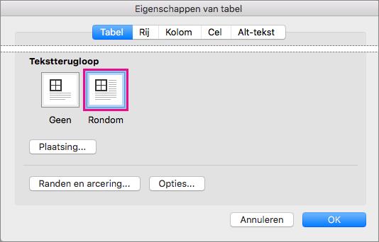 Klik op Rondom om tekst te laten teruglopen rond de geselecteerde tabel.