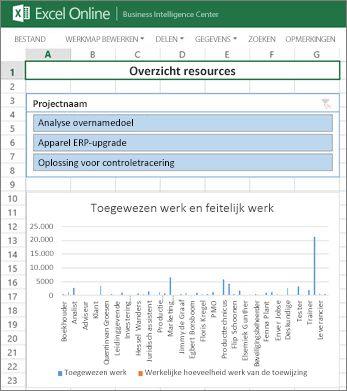 De werkmap Overzicht resources geeft informatie over resources voor uw projecten