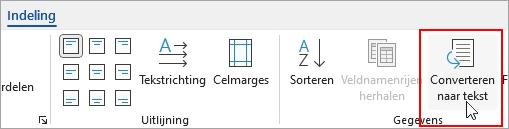 De optie Converteren naar tekst is gemarkeerd op het tabblad Hulpmiddelen voor tabelindeling.
