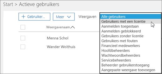 Gebruik de vervolgkeuzelijst om de lijst met gebruikers te filteren.