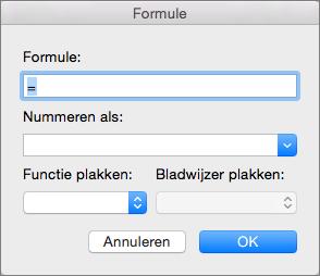 Formules toevoegen en wijzigen in het dialoogvenster Formule.