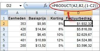 De formule wordt weergegeven op de formulebalk