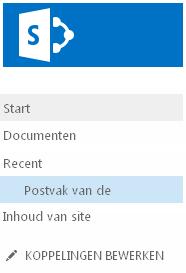 postvak onder recent op de werkbalk snel starten weergegeven