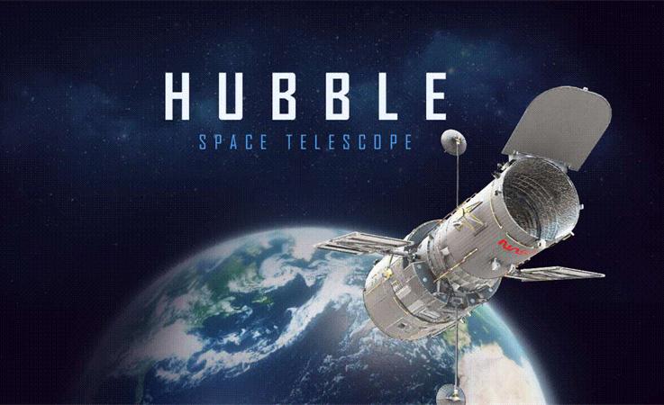 afbeelding van de Hubble-telescoop in de ruimte.