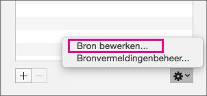 Deelvenster Bronvermeldingen met Bron bewerken gemarkeerd.