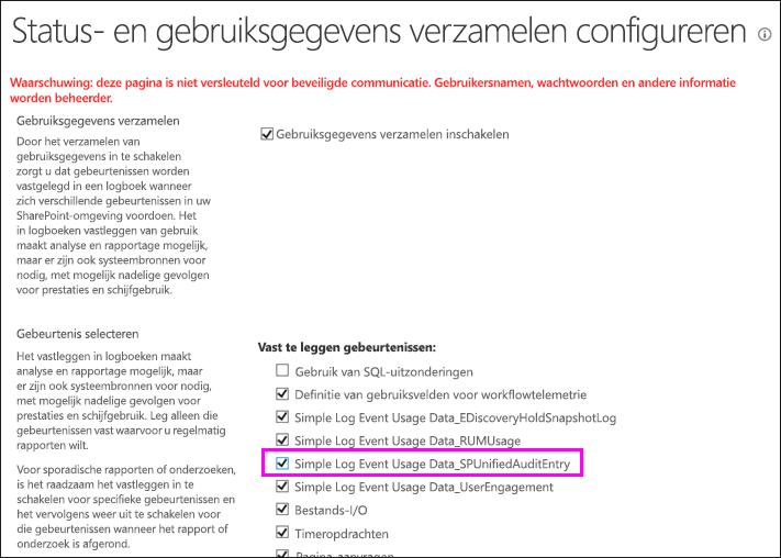 Optie voor het inschakelen van DLP-gebruikslogboeken