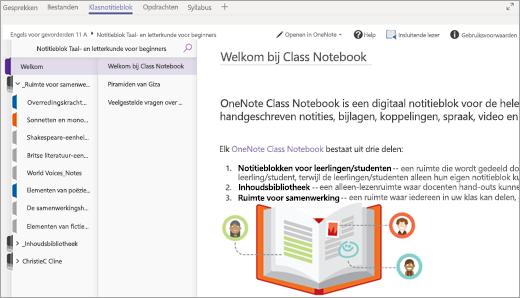 Het Class Notebook van een leerling/student dat is geopend in Teams.