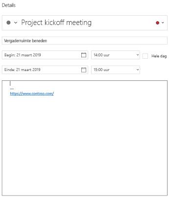 Agenda voor Windows 10 gebeurtenis detailweergave