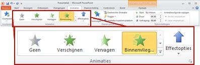 Tabblad Animaties van het lint in PowerPoint 2010