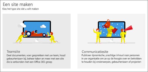 Keuze uit twee sjablonen op het hoogste niveau, team site of communicatiesite.