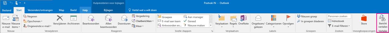 Het lint van Outlook 2016 met de knop Bericht vertalen gemarkeerd