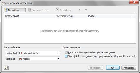 Het dialoogvenster Nieuwe gegevensafbeelding.