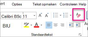 Het wissen alle opmaak-pictogram is gemarkeerd op het tabblad bericht