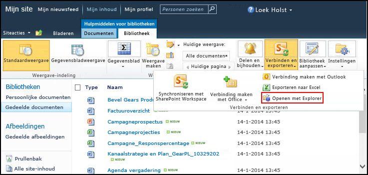 Gedeelde SharePoint 2010-map Documenten, optie Openen met Verkenner