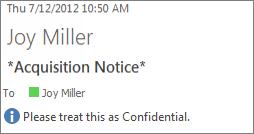 Als Vertrouwelijk gemarkeerde e-mail