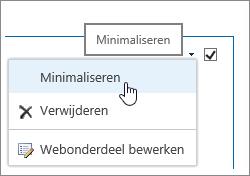 Menu Webonderdeel met Minimaliseren gemarkeerd
