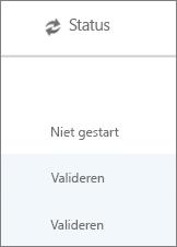 Op de pagina Gegevensmigratie wordt de migratiestatus van elke gebruiker weergegeven
