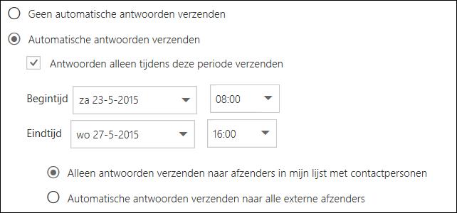 Ingestelde tijd voor automatische antwoorden in de webversie van Outlook