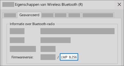 Veld voor Bluetooth LMP-versie op tabblad Geavanceerd van Apparaatbeheer.