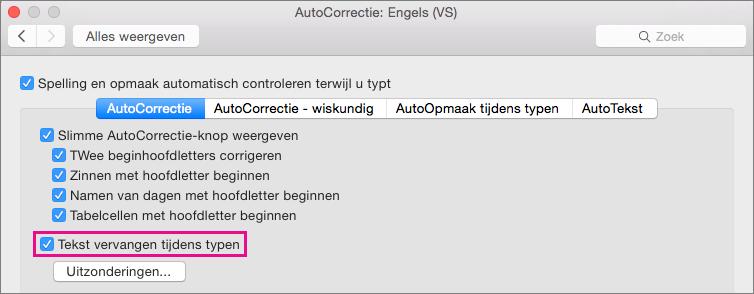 Selecteer Tekst vervangen tijdens het typen als u wilt dat met AutoCorrectie correcties worden aangebracht terwijl u typt.