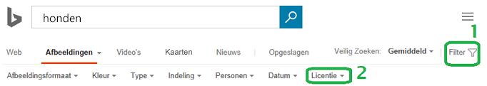 Klik op de knop Filter de rechtermarge van het venster en klik op het menu voor het filter licentie.