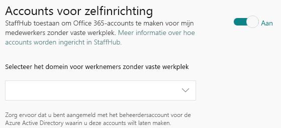 Vervolgkeuzelijst voor het selecteren van het domein voor medewerkers zonder bureau.