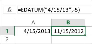 Maanden aftrekken van een datum